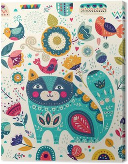 Wektor kolorowych ilustracji z pięknych kotów, ptaków, motyli i kwiatów