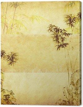 Bambus na starych grunge tekstury papieru tle