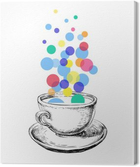 Art Szkic Coffee Cup Bubbles Hand Drawn