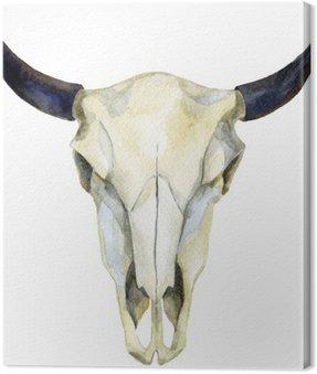 Akwarela krowy czaszki