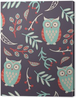 Vector seamless pattern with cute owls, leaves