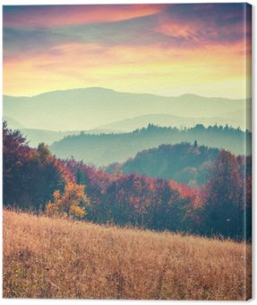 Colorful autumn sunrise in the Carpathian mountains