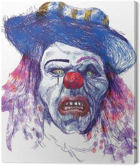 Straszny clown (rysunek, odizolowane na białym)