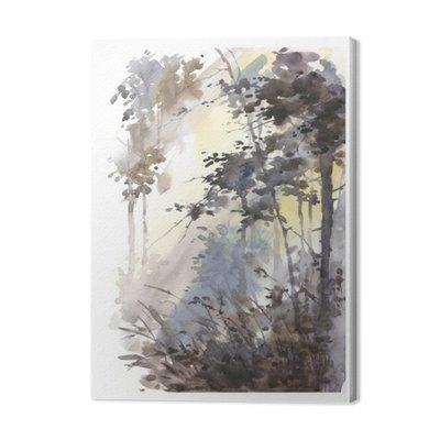 Akwarele ręcznie malowane abstrakcyjny krajobraz, głęboki las, trójkami w słońcu.