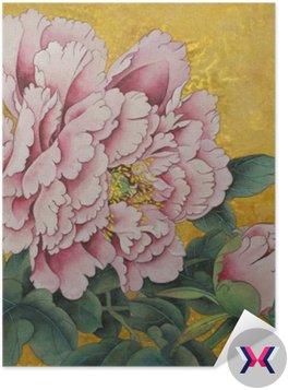 Różowa piwonia kwiat na złotym tle