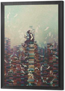 Mężczyzna czyta książkę siedząc na stos książek, koncepcja wiedzy, ilustracja malarstwo