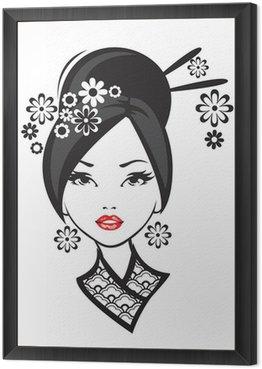 Czarno-białych ilustracji z eleganckim Japonka.