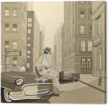 Gitarzysta w starej ulicy w Nowym Jorku