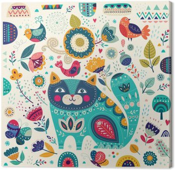 Vector colorful illustration with beautiful cat, butterflies, birds and flowers