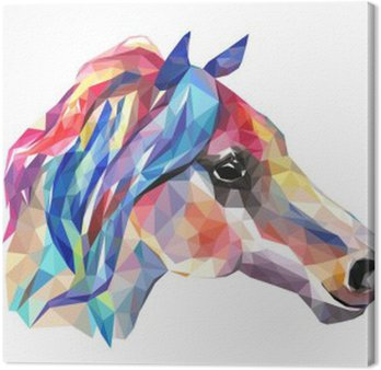 Horse head, mosaic. Trendy style geometric on white background.