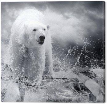 Biały niedźwiedź polarny Hunter na lodzie w kropli wody.