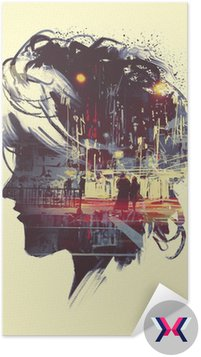 painting of double exposure concept with lady portrait silhouette and couple walking in night city