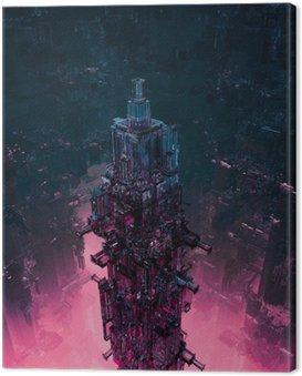 Szkło technocore miejski / 3D renderowania z futurystycznej konstrukcji science fiction