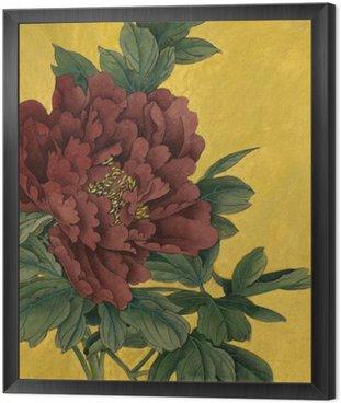 Piwonia kwiaty na złotym tle