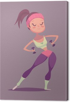Fitness girl cartoon character. Isolated vector illustration.