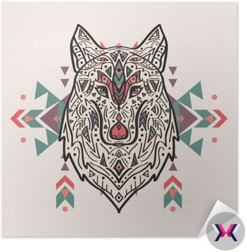 Wektor kolorowych ilustracji stylu tribal wilka z ornamentami etnicznymi. Amerykańskie motywy Indyjskim. Totem tatuaż. Konstrukcja Boho.