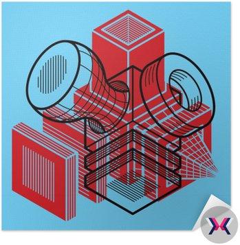 Projektowania 3D abstrakcyjna wektora wymiarowej kostki kształt.