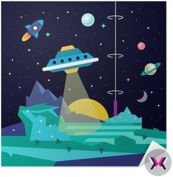 Alien planety przestrzeni krajobraz z UFO