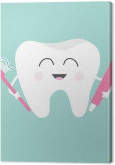 Ząb gospodarstwa pasty do zębów i szczoteczkę do zębów. Śliczne śmieszne kreskówki z uśmiechem. Dzieci do pielęgnacji zębów ikony. Oral higienę jamy ustnej. zdrowia zębów. Dziecko tła. Płaska konstrukcja.