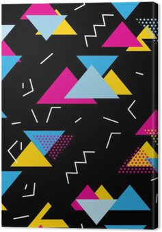 Seamless geometric pattern with magenta, blue, yellow triangles in pop art, retro 80s style. With lines, zigzag, dot on black background.