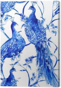 Niebieski kwiat Akwarele rocznika szwu z pawie