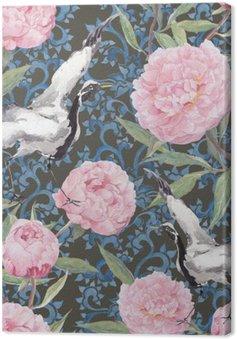 Ptaki z żurawiem, piwonii. Kwiatowy powtarzając chiński wzór. Akwarela