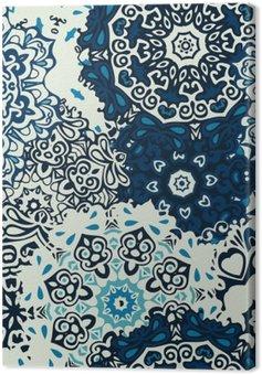 Mandala kwiat bez szwu wzór niebieskie tło