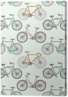 Seamless pattern with cute retro bikes