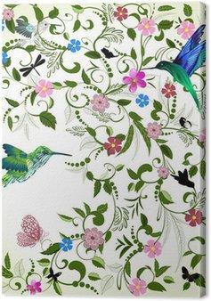 Kwiatów tle z ptakiem