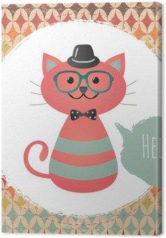 Wektor Hipster Cat ilustracja karty z pozdrowieniami projekt