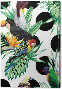 Tropikalnych ptaków i liści palmowych wzór