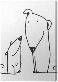 Dwa cartoon, brązowy pies rodzic i dziecko