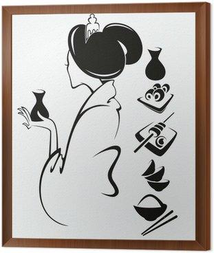 Wektor obraz japońskiej dziewczyny z tradycyjnej żywności