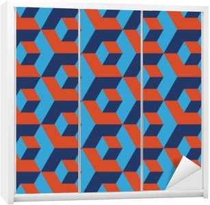 Seamless navy blue and orange op art isometric cubes illusion pattern vector