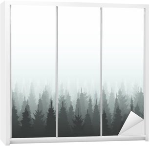 Coniferous forest silhouette template. Woods illustration