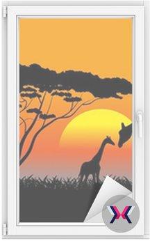 Afrykańskiej sawanny wieczorny krajobraz