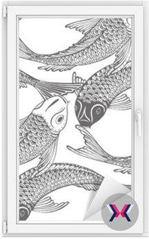 Wektor bez szwu wzór z ręcznie rysowane Koi ryb