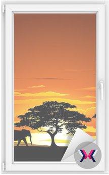 Sawanna zachód słońca i zachód słońca Savannah zwierząt-i-zwierzęta 2 wektor