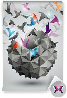 Wolność papieru, origami ilustracji abstrakcyjna.