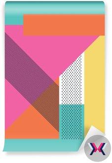 Streszczenie 80s retro tło z geometrycznych kształtów i wzoru. Materiał wzór tapety.