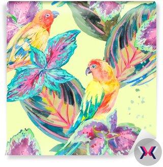 Akwarela Papugi .Tropical kwiatów i liści. Egzotyczny.