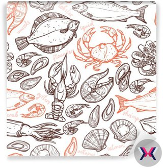 Wzorzec z owocami morza ręcznie rysowanych elementów z homara, ośmiornice, kalmary, łosoś, flądra, kraby, małże, ostrygi i krewetki na białym tle