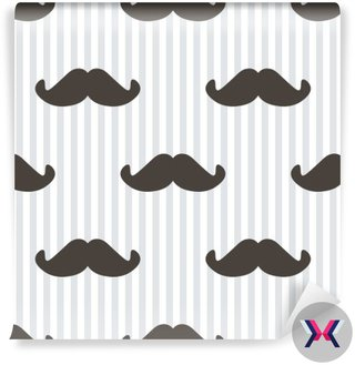 Flat design, vector hipster moustache and stripes seamless pattern background.