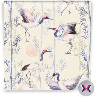 Ręcznie rysowane Akwarele szwu z białych japońskich żurawi tańca. Powtarzające się tło z delikatnymi ptaków i bambusa