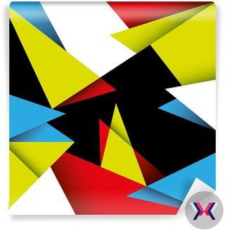 Abstrakcyjne tło z kolorowych kształtów geometrycznych.