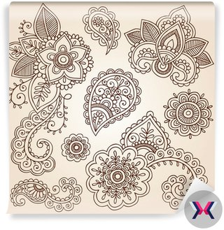 Henna Paisley Doodles elementy projektu tatuaż wektor mandali