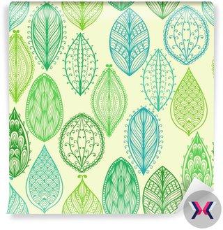 Bez szwu wyciągnąć rękę rocznika wzór z zielonymi liśćmi ozdobnymi