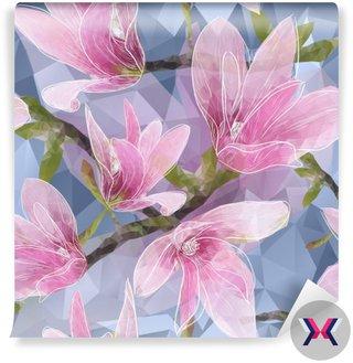 Jednolite tło z kwitnące kwiaty magnolii w trójkątach