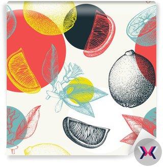 Wektor bez szwu z ręcznie rysowane atramentu wapna owoców, kwiatów, liści i plaster szkic. Archiwalne tła w pastelowych kolorach cytrusowych