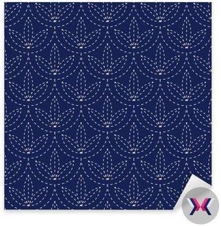 Jednolite porcelany indygo niebieski i biały rocznik japońskie kimono sashiko wektor wzór